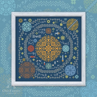 "Digital embroidery chart ""Around the Sun"" with English Titles"