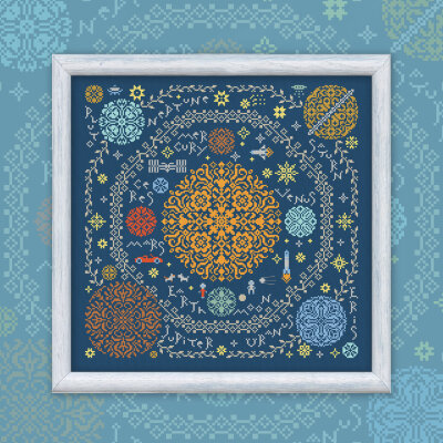 "Printed embroidery chart ""Around the Sun"" with English Titles"