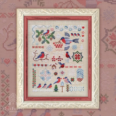 "Printed embroidery chart ""Bullfinches"""