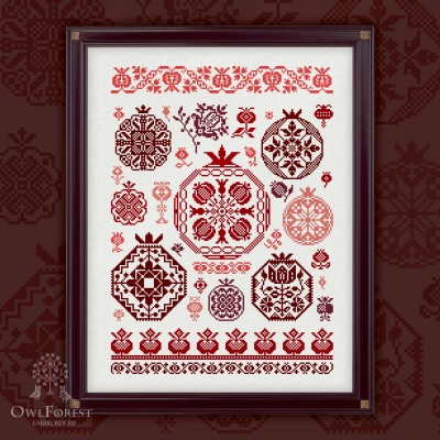 "Printed embroidery chart ""Pomegranate Quaker"""