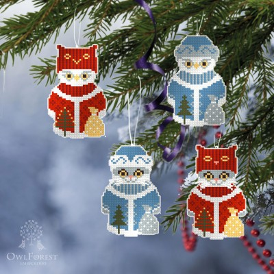 "Free embroidery digital chart ""Christmas-tree Decorations"" (Cats and Owls)"