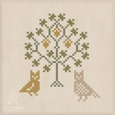 "Free embroidery digital chart ""Owls under the Oak"""