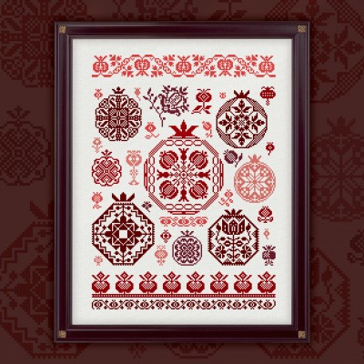 "Digital embroidery chart ""Pomegranate Quaker"""