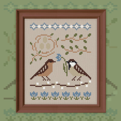 "Free embroidery digital chart ""Sparrows"""