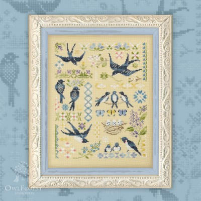 "Printed embroidery chart ""Swallows"""