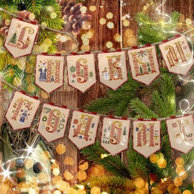 Set of digital charts of New Year Pennants with Russian Letters