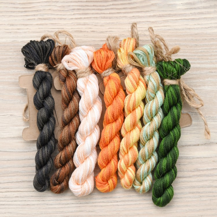 "Set of OwlForest Hand-Dyed Threads for the ""Pretty Pumpkins"" Free Chart (DMC)"