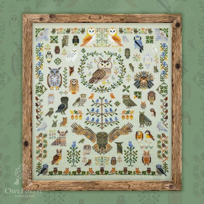 "Free embroidery digital chart ""100 owls"""