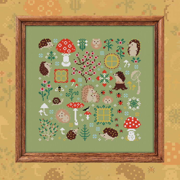 "Digital embroidery chart ""Hedgehog Meadow"""