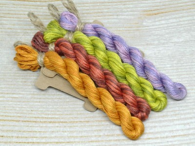 "Set of OwlForest Hand-Dyed Threads for the Embroidery Chart ""Love for All Seasons"" (Finca)"