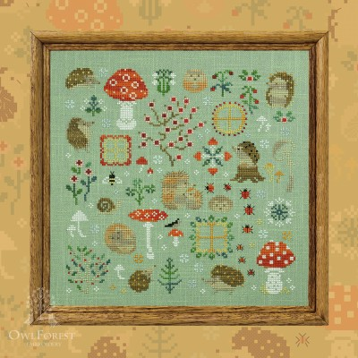 "Printed embroidery chart ""Hedgehog Meadow"""