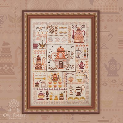 "Printed embroidery chart ""Coffee Sampler"""
