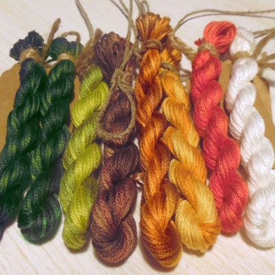 "Set of OwlForest Hand-Dyed Threads for the Embroidery Chart ""Chestnut"" (Finca)"