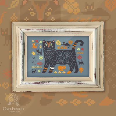 "Free embroidery digital chart ""Autumn Cats"""
