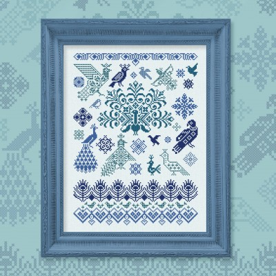 "Digital embroidery chart ""Bluebirds of Happiness"""