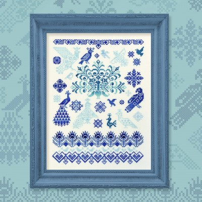 "Printed embroidery chart ""Bluebirds of Happiness"""