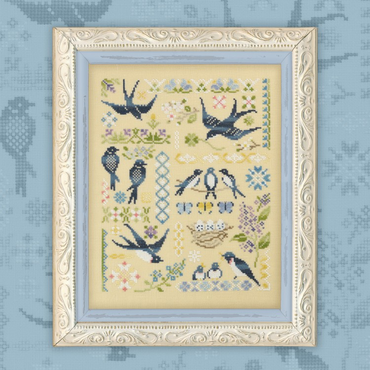 "Digital embroidery chart ""Swallows"""