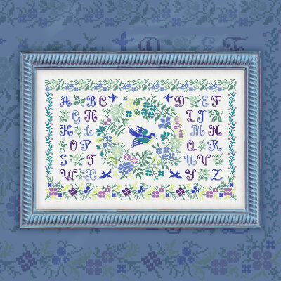 "Digital embroidery chart ""Spring Alphabet"" Latin Letters"