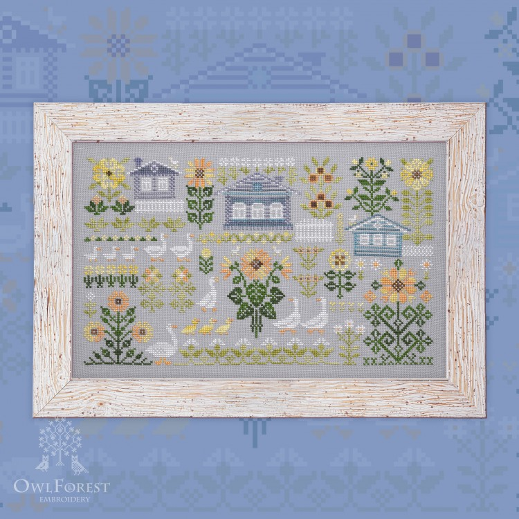 "Printed embroidery chart ""Geese and Sunflowers"""