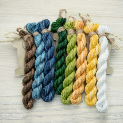 "Set of OwlForest Hand-Dyed Threads for the ""Geese and Sunflowers"" Chart (Thread Trade n.a. Kirov)"