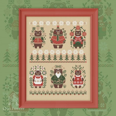 "Free embroidery digital chart ""Christmas Bears"""